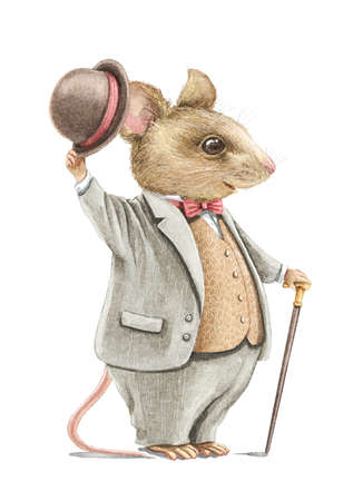 Watercolor vintage man mouse in gray suit holding hat and walking stick isolated on white background. Watercolor hand drawn illustration sketch