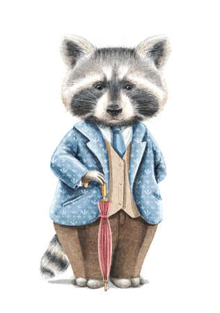 Watercolor vintage boy raccoon in suit holding red umbrella cane isolated on white background. Watercolor hand drawn illustration sketch 版權商用圖片