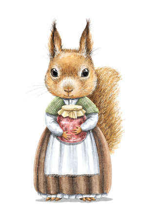 Watercolor vintage girl redhead squirrel in dress holding jar of berry jam isolated on white background. Watercolor hand drawn illustration sketch 版權商用圖片