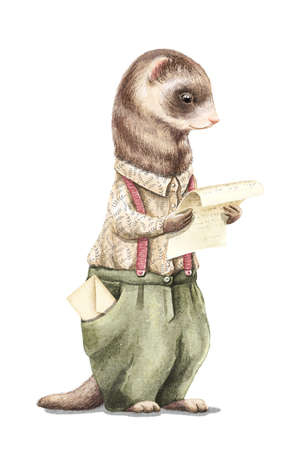 Watercolor vintage man ferret in shirt and pants holding and read letter isolated on white background. Watercolor hand drawn illustration sketch