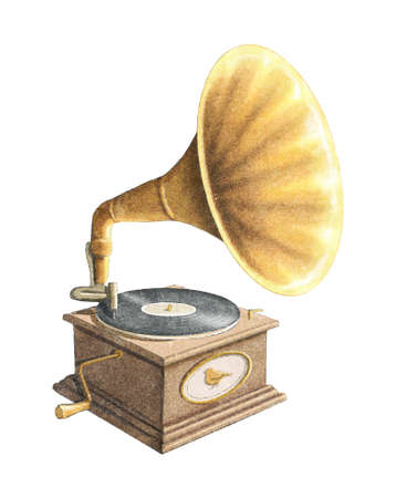Watercolor vintage old gramophone with record isolated on white background. Watercolor hand drawn illustration sketch 版權商用圖片
