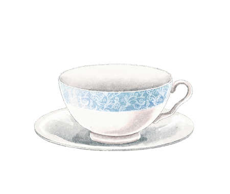 Watercolor vintage tea cup on a saucer with blue border isolated on white background. Watercolor hand drawn illustration sketch