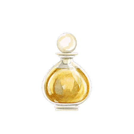 Watercolor yellow perfume in vintage dainty small bottle isolated on white background. Watercolor hand drawn illustration sketch 版權商用圖片