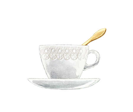 Watercolor vintage tea cup on saucer with with golden spoon isolated on white background. Watercolor hand drawn illustration sketch 版權商用圖片