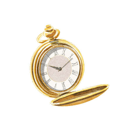 Watercolor yellow vintage gold pocket watch isolated on white background. Watercolor hand drawn illustration sketch 版權商用圖片