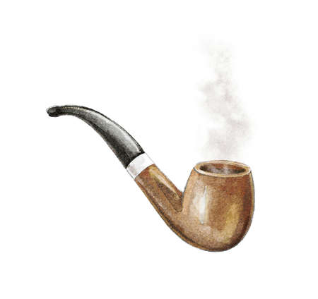 Watercolor vintage wooden brown smoking pipe for tobacco with smoke isolated on white background. Watercolor hand drawn illustration sketch