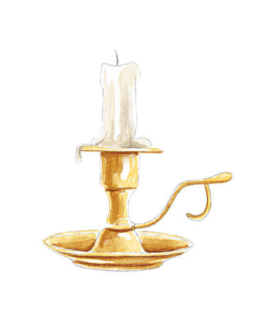 Watercolor vintage melted candle in golden bronze candlestick isolated on white background. Watercolor hand drawn illustration sketch 版權商用圖片