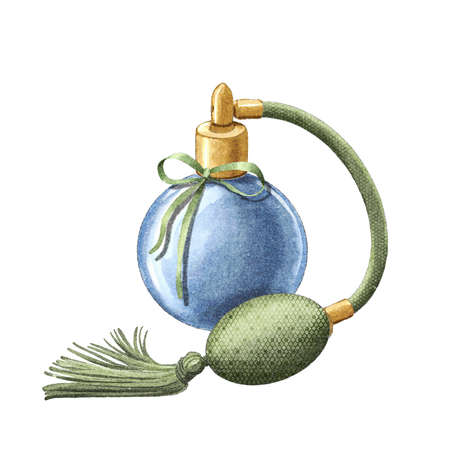 Watercolor blue perfume in vintage dainty bottle with green pulverizer pomp isolated on white background. Hand drawn illustration sketch