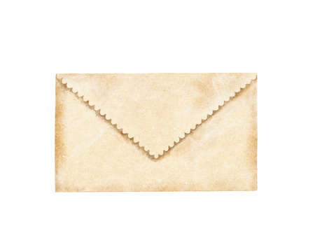 Watercolor vintage old beige blank envelope letter isolated on white background. Hand drawn illustration sketch