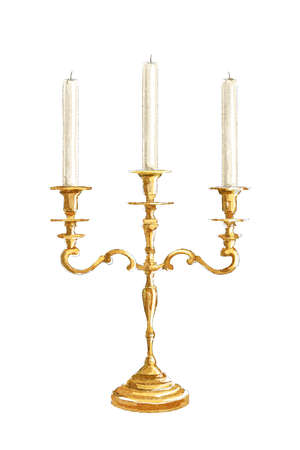 Vintage three candles in golden bronze candlestick isolated on white background. Watercolor hand drawn illustration sketch