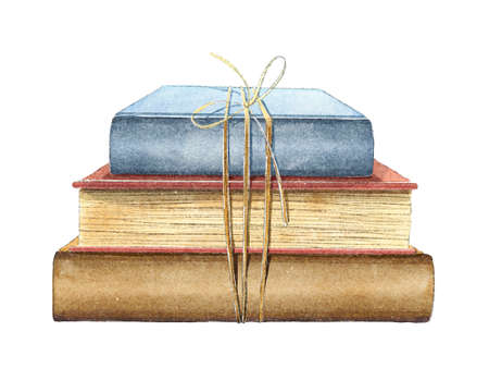 Watercolor vintage composition with old stack of three books in different colors tied with rope isolated on white background. Hand drawn illustration sketch 版權商用圖片