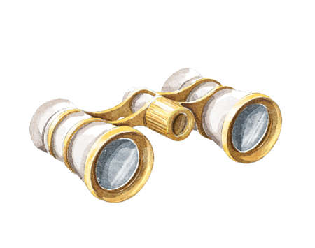 Watercolor vintage old white and gold theater binoculars isolated on white background. Hand drawn illustration sketch
