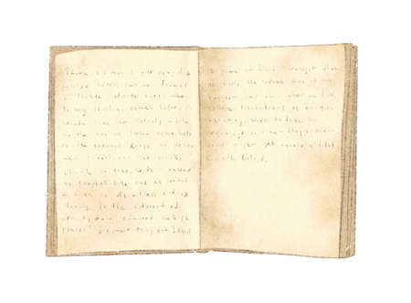 Watercolor vintage old open book with handwritten text isolated on white background. Hand drawn illustration sketch