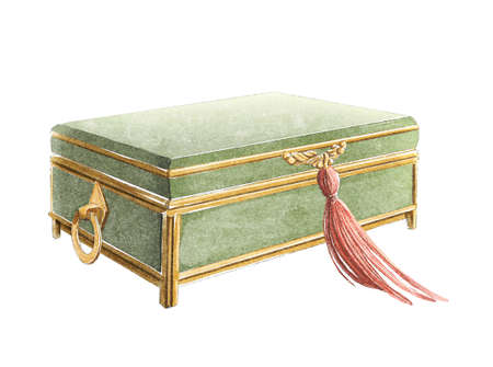Vintage green velvet jewelry box with red tassel and gold inlay isolated on white background. Watercolor hand drawn illustration sketch
