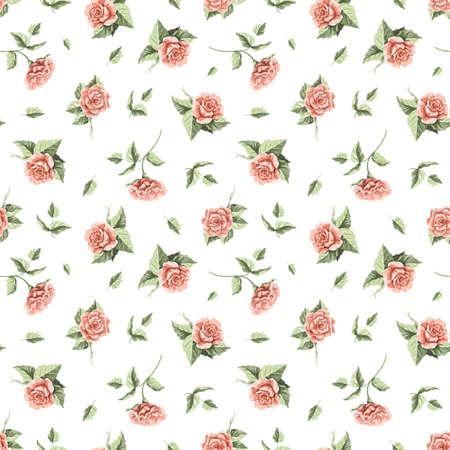 Seamless floral pattern with vintage red flowers roses and leaves isolated on white background. Watercolor hand drawn illustration sketch 版權商用圖片