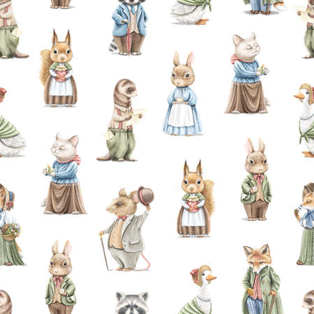 Seamless pattern with vintage, variety of cute animals in clothes isolated on white background. Watercolor hand drawn illustration sketch 版權商用圖片