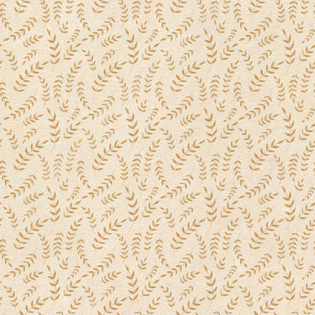 Seamless pattern with vintage brown repeating twigs with leaves on beige background. Watercolor hand drawn illustration sketch