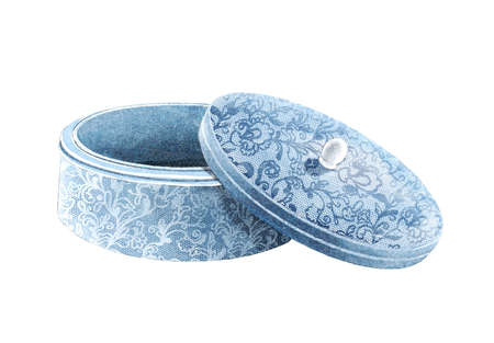 Vintage blue velvet jewelry box with lace ornate pattern isolated on white background. Watercolor hand drawn illustration sketch 版權商用圖片