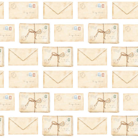 Seamless pattern with vintage old beige letters with stamps and marks tied with cord isolated on white background. Watercolor hand drawn illustration sketch 版權商用圖片