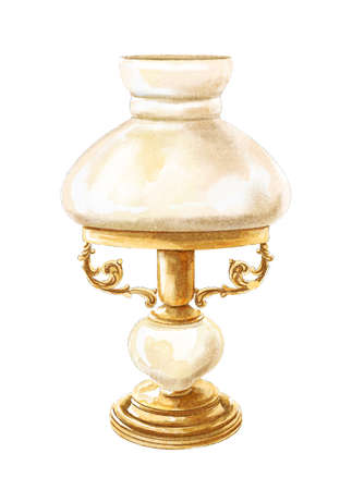 Vintage golden bronze old table lamp isolated on white background. Watercolor hand drawn illustration sketch 版權商用圖片