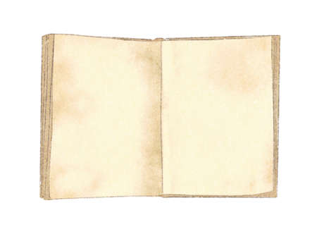 Watercolor vintage old open book with blank pages isolated on white background. Hand drawn illustration sketch