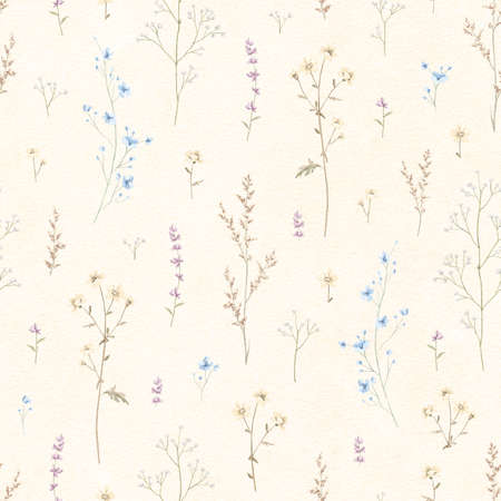 Seamless floral pattern with meadow dried flowers on beige paper background. Watercolor hand drawn illustration sketch