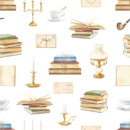 Seamless pattern with vintage variety old-fashion set of books and library objects isolated on white background. Watercolor hand drawn illustration sketch