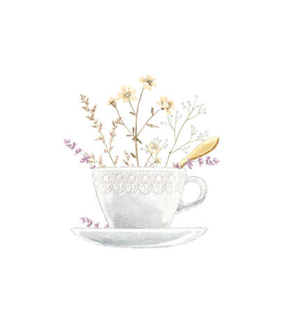 Watercolor vintage tea cup on saucer with flowers and golden spoon isolated on white background. Hand drawn illustration sketch 版權商用圖片