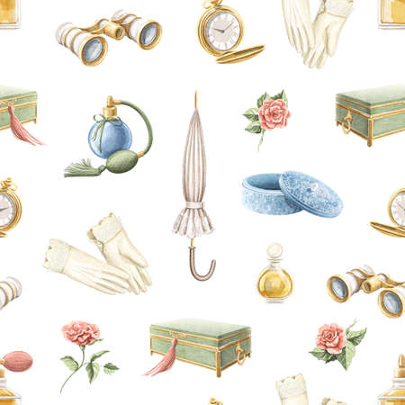 Seamless pattern with vintage variety old-fashion set of objects isolated on white background. Watercolor hand drawn illustration sketch 版權商用圖片