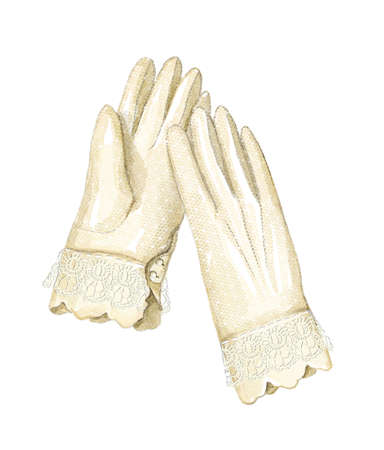 Vintage beige old female lacy gloves isolated on white background. Watercolor hand drawn illustration sketch