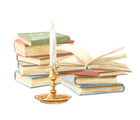 Watercolor vintage composition with old piles of books in different colors and burning candle in bronze candlestick isolated on white background. Hand drawn illustration sketch 版權商用圖片