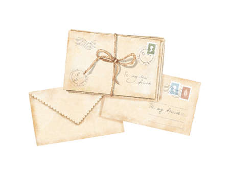 Watercolor vintage composition with vintage old beige letters with stamps and marks tied with cord isolated on white background. Watercolor hand drawn illustration sketch
