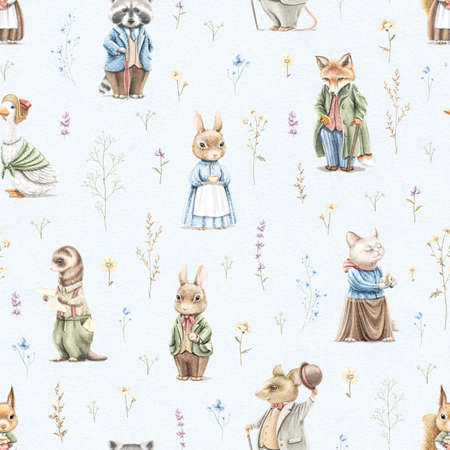 Seamless pattern with vintage, variety of cute animals in clothes and meadow dried flowers on blue paper texture background. Watercolor hand drawn illustration sketch Archivio Fotografico