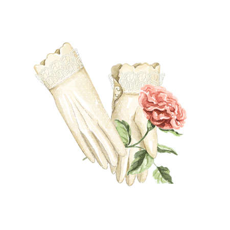Watercolor vintage composition with beige old female lacy gloves holding red rose isolated on white background. Hand drawn illustration sketch