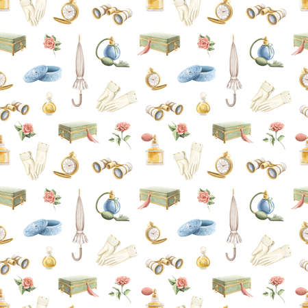 Seamless pattern with vintage variety old-fashion set of objects isolated on white background. Watercolor hand drawn illustration sketch Archivio Fotografico