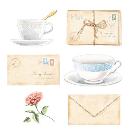 Watercolor set with vintage old beige letters with stamps and marks, rose flower and porcelain cups isolated on white background. Watercolor hand drawn illustration sketch