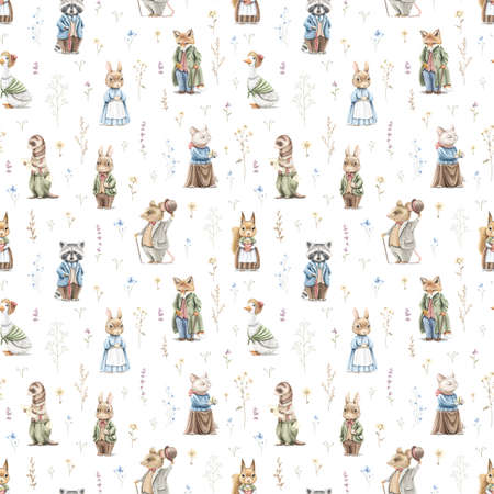 Seamless pattern with vintage, variety of cute animals in clothes and meadow dried flowers isolated on white background. Watercolor hand drawn illustration sketch