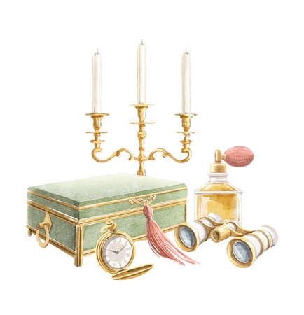 Watercolor vintage composition with candlestick, casket, perfume, binocular and pocket watch isolated on white background. Hand drawn illustration sketch