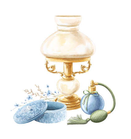 Watercolor vintage composition with table lamp, casket, perfume and floral bouquet isolated on white background. Hand drawn illustration sketch