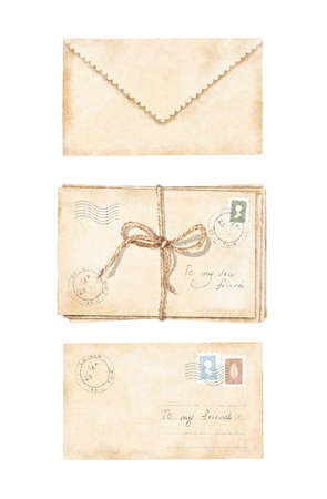 Watercolor set with three vintage old beige letters with, tied with rope, stamps and marks isolated on white background. Watercolor hand drawn illustration sketch