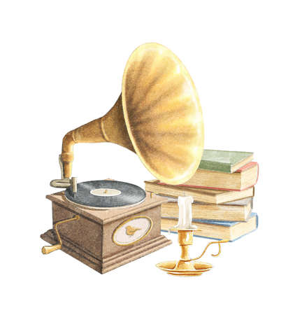 Watercolor vintage composition with old gramophone with record, piles of books in different colors and candle in bronze candlestick isolated on white background. Hand drawn illustration sketch Archivio Fotografico