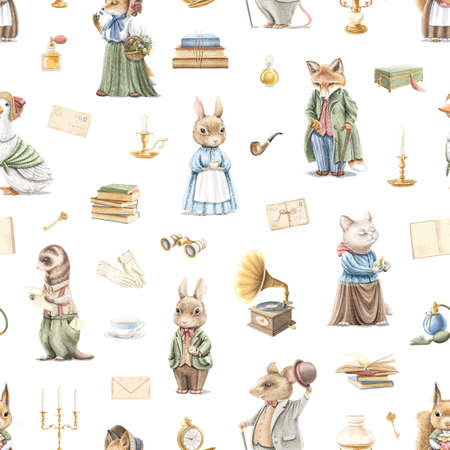 Seamless pattern with vintage variety of cute animals in clothes and objects in retro style isolated on white background. Watercolor hand drawn illustration sketch Archivio Fotografico