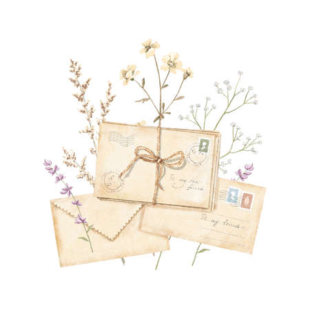 Watercolor vintage composition with vintage old beige letters with stamps and marks tied with cord meadow and dried flowers isolated on white background. Watercolor hand drawn illustration sketch