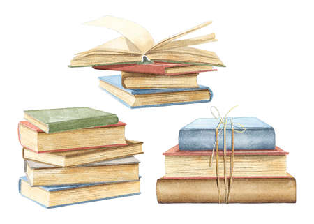 Watercolor set with three vintage old stacks of books in different colors isolated on white background. Watercolor hand drawn illustration sketch Archivio Fotografico