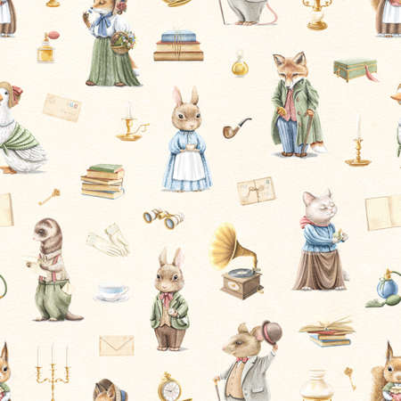 Seamless pattern with vintage variety of cute animals in clothes and objects in retro style on beige paper background. Watercolor hand drawn illustration sketch