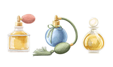Watercolor set with three vintage perfume in elegant bottles with pulverizer pomp isolated on white background. Watercolor hand drawn illustration sketch
