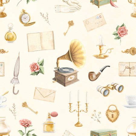 Seamless pattern with vintage variety old-fashion set of objects on beige paper texture background. Watercolor hand drawn illustration sketch Archivio Fotografico