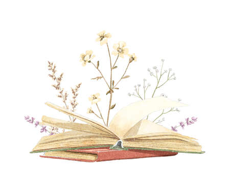 Watercolor vintage composition with old stack of closed and open books in different colors with meadow dried flowers isolated on white background. Hand drawn illustration sketch Archivio Fotografico