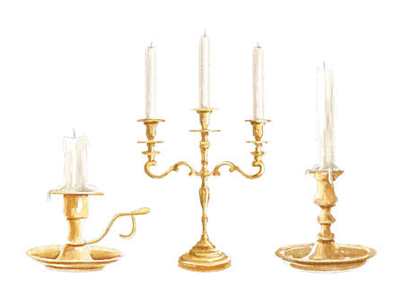 Vintage set with three golden bronze candlesticks and candles isolated on white background. Watercolor hand drawn illustration sketch