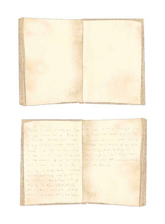 Watercolor set with two vintage old open books isolated on white background. Hand drawn illustration sketch